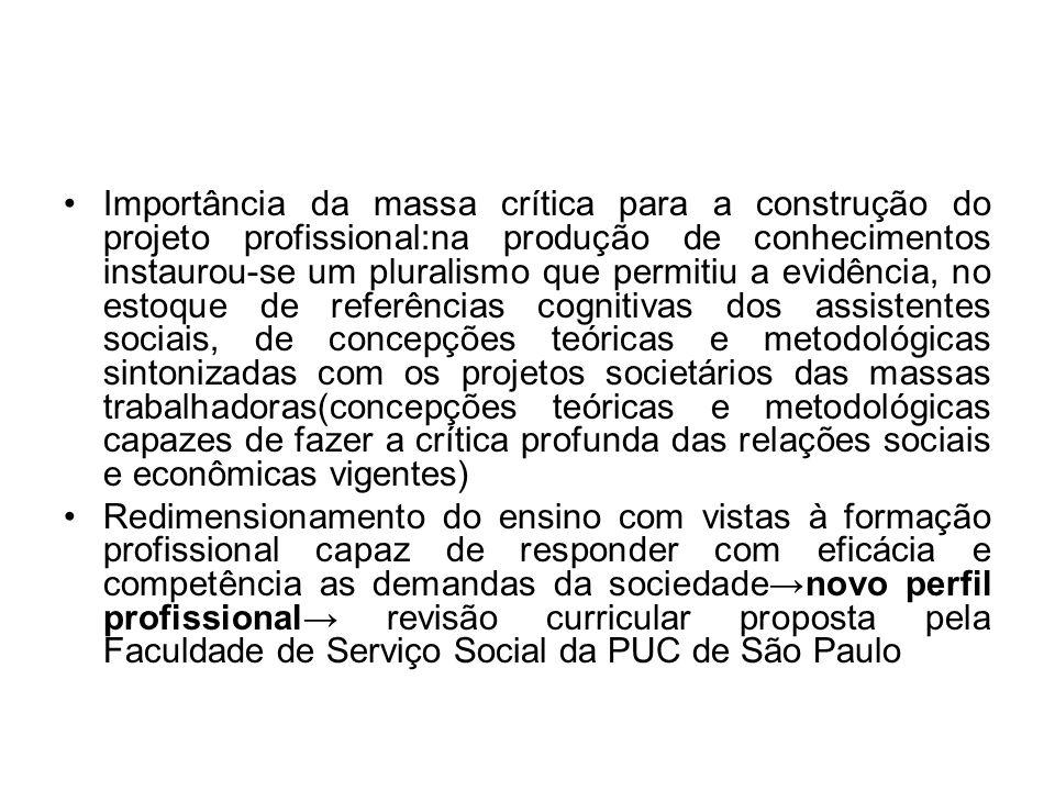 Importância da massa crítica para a construção do projeto profissional:na produção de conhecimentos instaurou-se um pluralismo que permitiu a evidênci