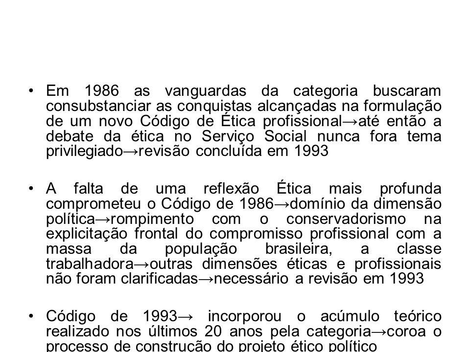 Em 1986 as vanguardas da categoria buscaram consubstanciar as conquistas alcançadas na formulação de um novo Código de Ética profissionalaté então a d