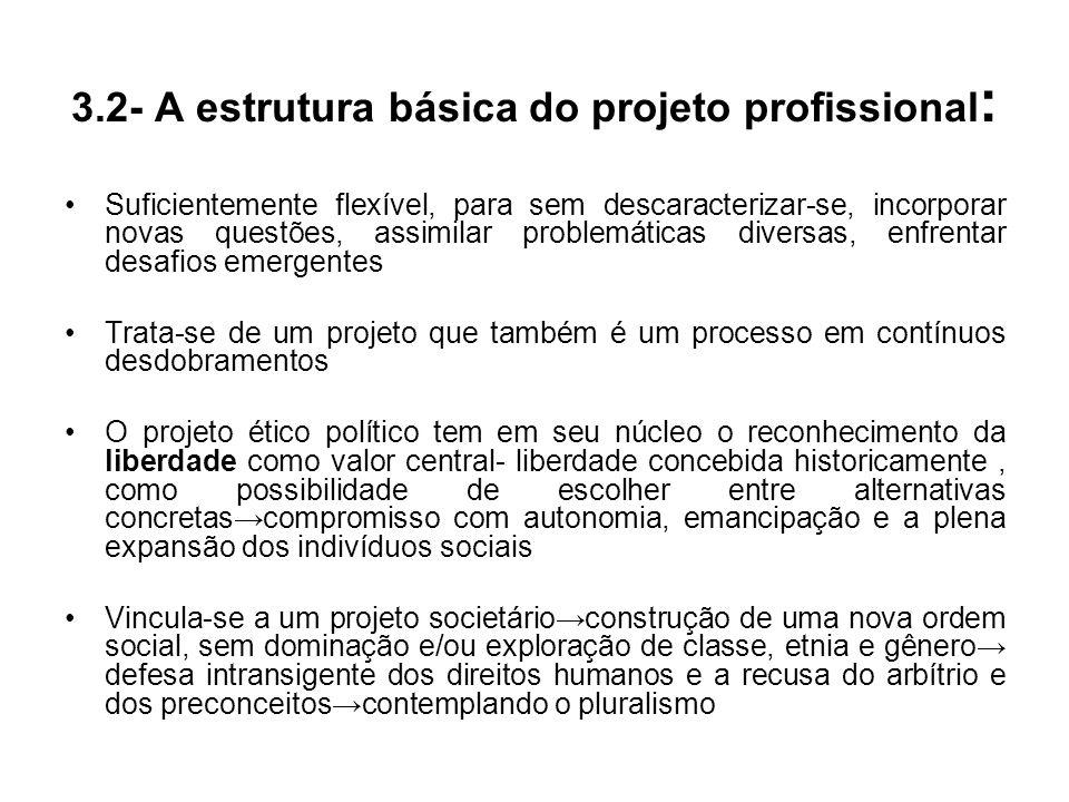 3.2- A estrutura básica do projeto profissional : Suficientemente flexível, para sem descaracterizar-se, incorporar novas questões, assimilar problemá