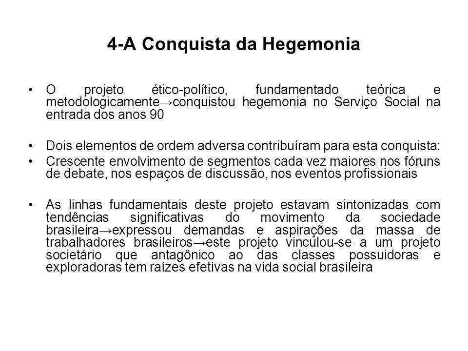 4-A Conquista da Hegemonia O projeto ético-político, fundamentado teórica e metodologicamenteconquistou hegemonia no Serviço Social na entrada dos ano