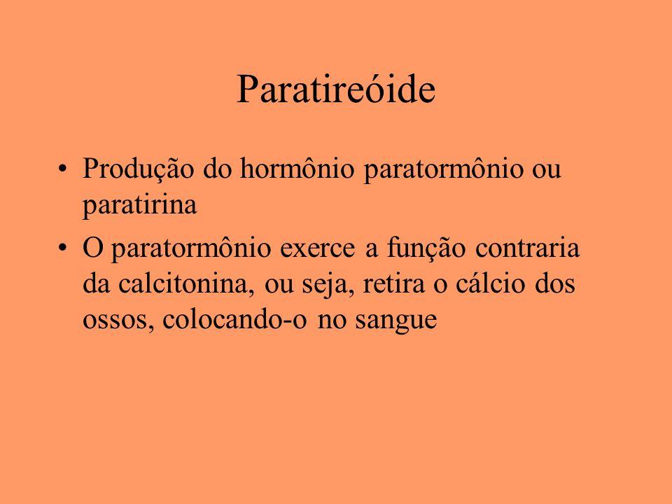 Paratireóide Produção do hormônio paratormônio ou paratirina O paratormônio exerce a função contraria da calcitonina, ou seja, retira o cálcio dos oss