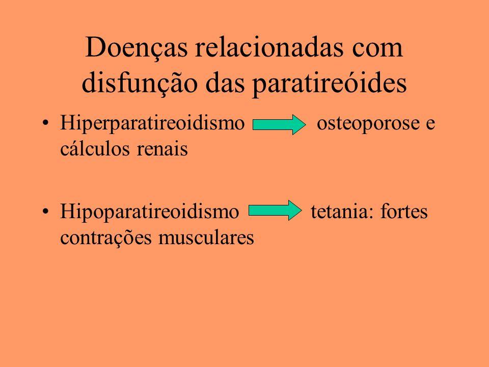 Doenças relacionadas com disfunção das paratireóides Hiperparatireoidismo osteoporose e cálculos renais Hipoparatireoidismo tetania: fortes contrações