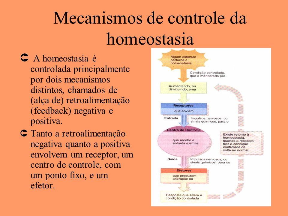 Mecanismos de controle da homeostasia Û A homeostasia é controlada principalmente por dois mecanismos distintos, chamados de (alça de) retroalimentaçã