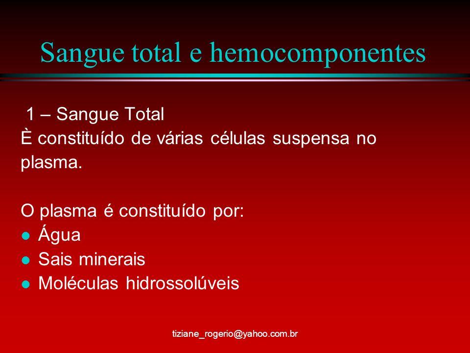 Sangue total e hemocomponentes 1 – Sangue Total È constituído de várias células suspensa no plasma.
