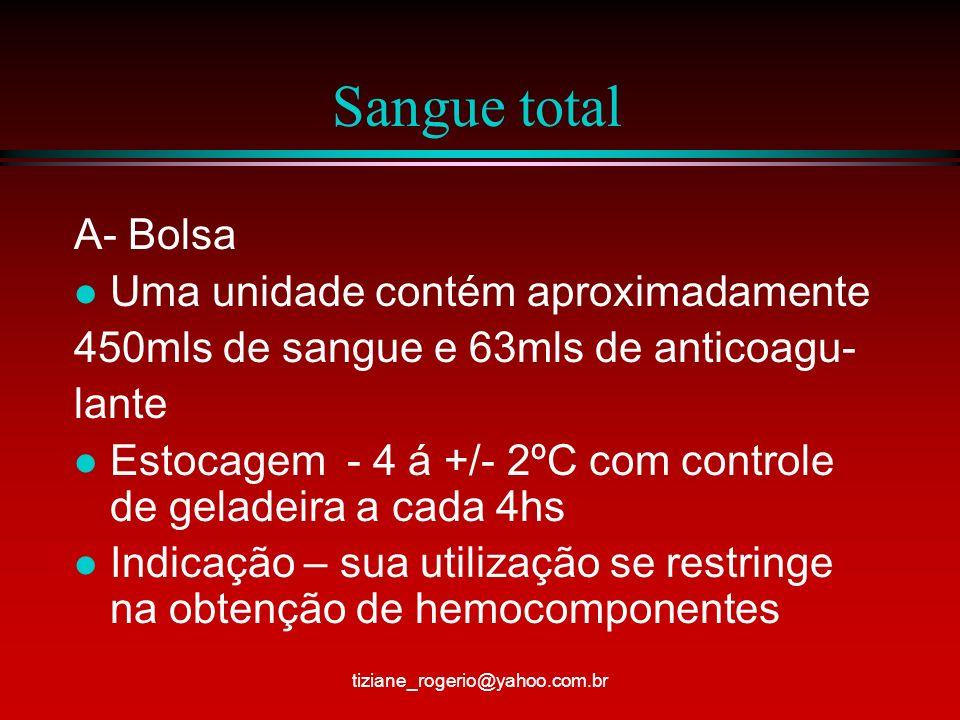 Sangue total A- Bolsa l Uma unidade contém aproximadamente 450mls de sangue e 63mls de anticoagu- lante l Estocagem - 4 á +/- 2ºC com controle de geladeira a cada 4hs l Indicação – sua utilização se restringe na obtenção de hemocomponentes tiziane_rogerio@yahoo.com.br