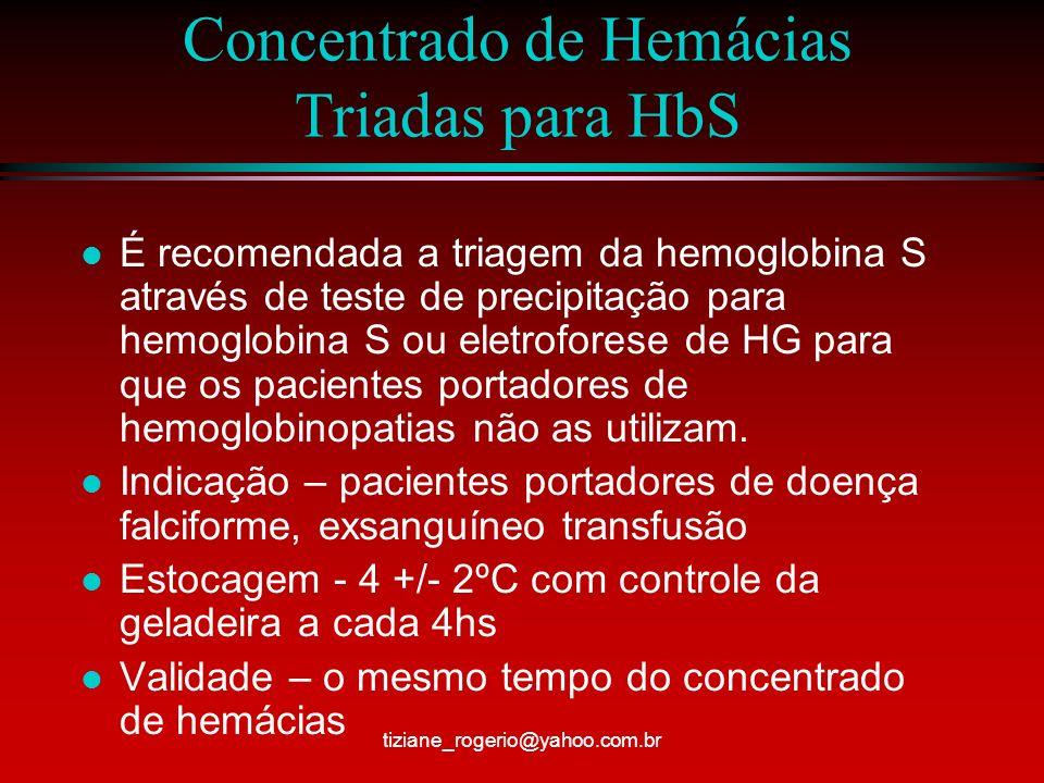 Concentrado de Hemácias Deleucotizadas l Pode ocorrer reações febris mesmo com o uso de filtros l Estocagem – 4 +/-2ºC com controle da geladeira a cad 4hs l Indicação – reações transfusionais febris não hemolíticas, repetidas, candidatos a transplantes e após transplantes, portadores de hemoglobinopatias, prevenção de infecção pelo citomegalovírus, em RN e crianças até 6meses tiziane_rogerio@yahoo.com.br
