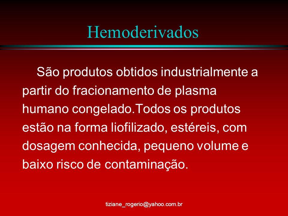Hemoderivados São produtos obtidos industrialmente a partir do fracionamento de plasma humano congelado.Todos os produtos estão na forma liofilizado, estéreis, com dosagem conhecida, pequeno volume e baixo risco de contaminação.