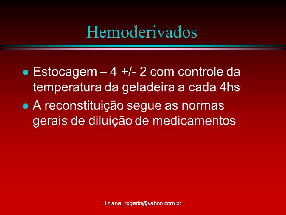 Hemoderivados l Estocagem – 4 +/- 2 com controle da temperatura da geladeira a cada 4hs l A reconstituição segue as normas gerais de diluição de medicamentos tiziane_rogerio@yahoo.com.br