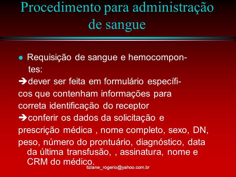 Procedimento para administração de sangue São proibidos – rasuras, abreviações ou uso de corretivos em qualquer fase do processo tiziane_rogerio@yahoo.com.br
