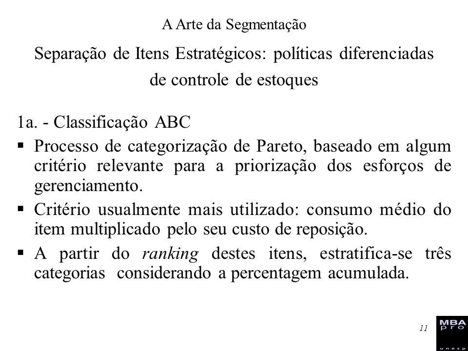 11 1a. - Classificação ABC Processo de categorização de Pareto, baseado em algum critério relevante para a priorização dos esforços de gerenciamento.