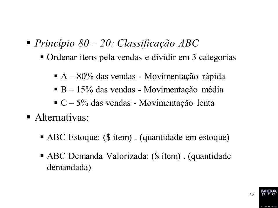 12 Princípio 80 – 20: Classificação ABC Ordenar itens pela vendas e dividir em 3 categorias A – 80% das vendas - Movimentação rápida B – 15% das venda