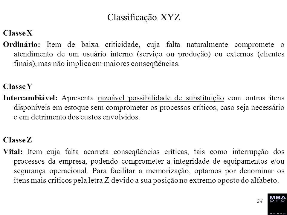 24 Classe X Ordinário: Item de baixa criticidade, cuja falta naturalmente compromete o atendimento de um usuário interno (serviço ou produção) ou exte