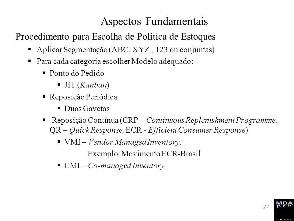 27 Procedimento para Escolha de Política de Estoques Aplicar Segmentação (ABC, XYZ, 123 ou conjuntas) Para cada categoria escolher Modelo adequado: Po