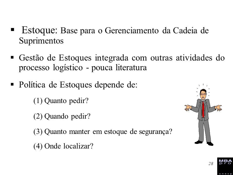 28 Estoque: Base para o Gerenciamento da Cadeia de Suprimentos Gestão de Estoques integrada com outras atividades do processo logístico - pouca litera