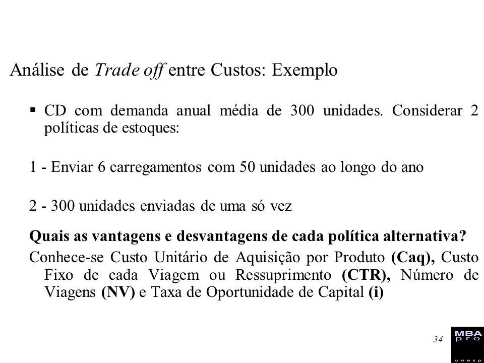 34 Análise de Trade off entre Custos: Exemplo CD com demanda anual média de 300 unidades. Considerar 2 políticas de estoques: 1 - Enviar 6 carregament