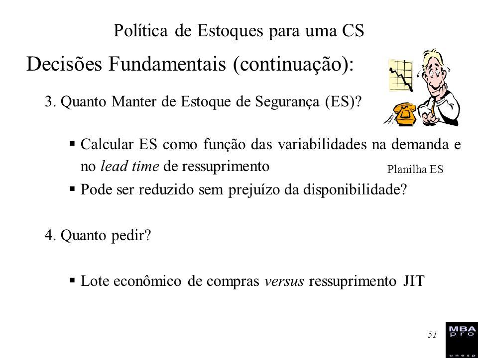 51 Decisões Fundamentais (continuação): 3. Quanto Manter de Estoque de Segurança (ES)? Calcular ES como função das variabilidades na demanda e no lead