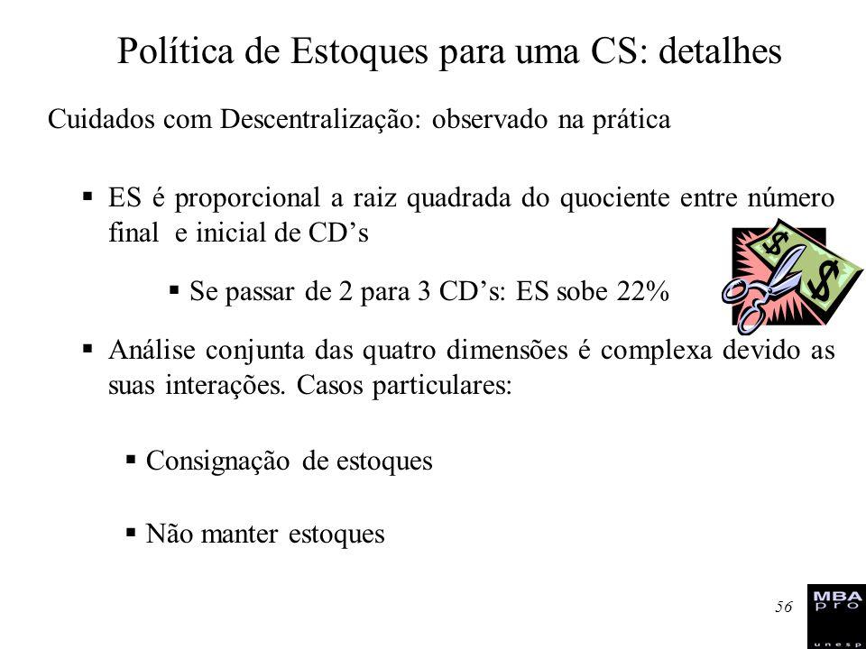 56 Cuidados com Descentralização: observado na prática ES é proporcional a raiz quadrada do quociente entre número final e inicial de CDs Se passar de