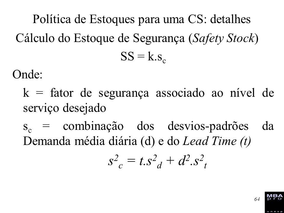 64 Cálculo do Estoque de Segurança (Safety Stock) SS = k.s c Onde: k = fator de segurança associado ao nível de serviço desejado s c = combinação dos