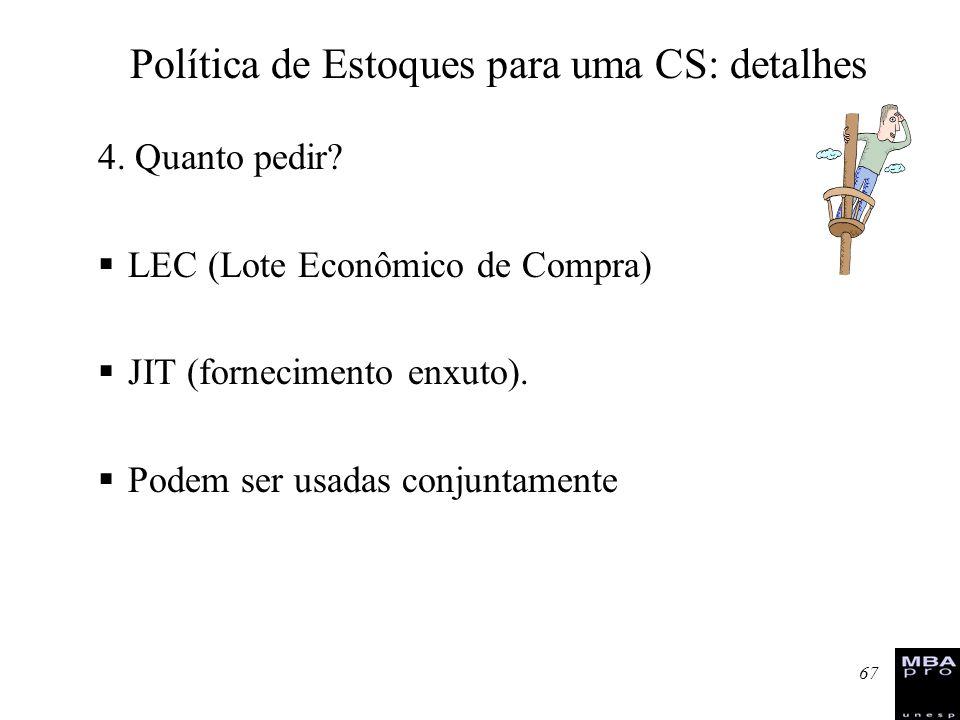 67 4. Quanto pedir? LEC (Lote Econômico de Compra) JIT (fornecimento enxuto). Podem ser usadas conjuntamente Política de Estoques para uma CS: detalhe