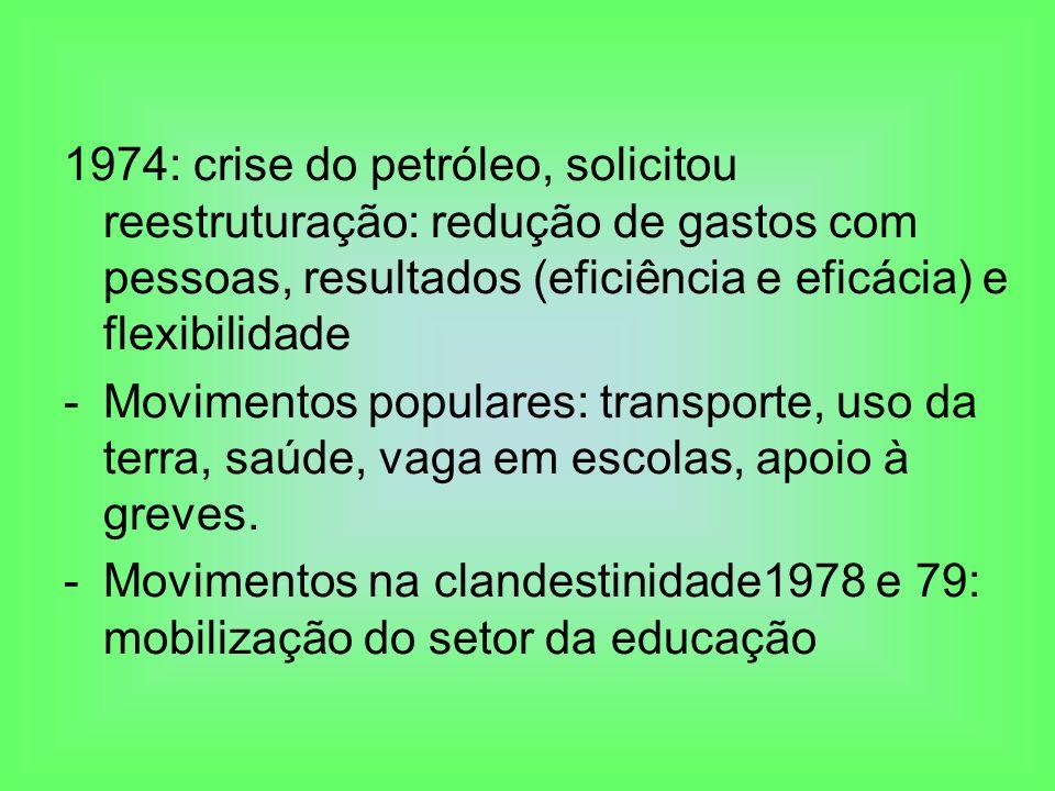 1974: crise do petróleo, solicitou reestruturação: redução de gastos com pessoas, resultados (eficiência e eficácia) e flexibilidade -Movimentos popul