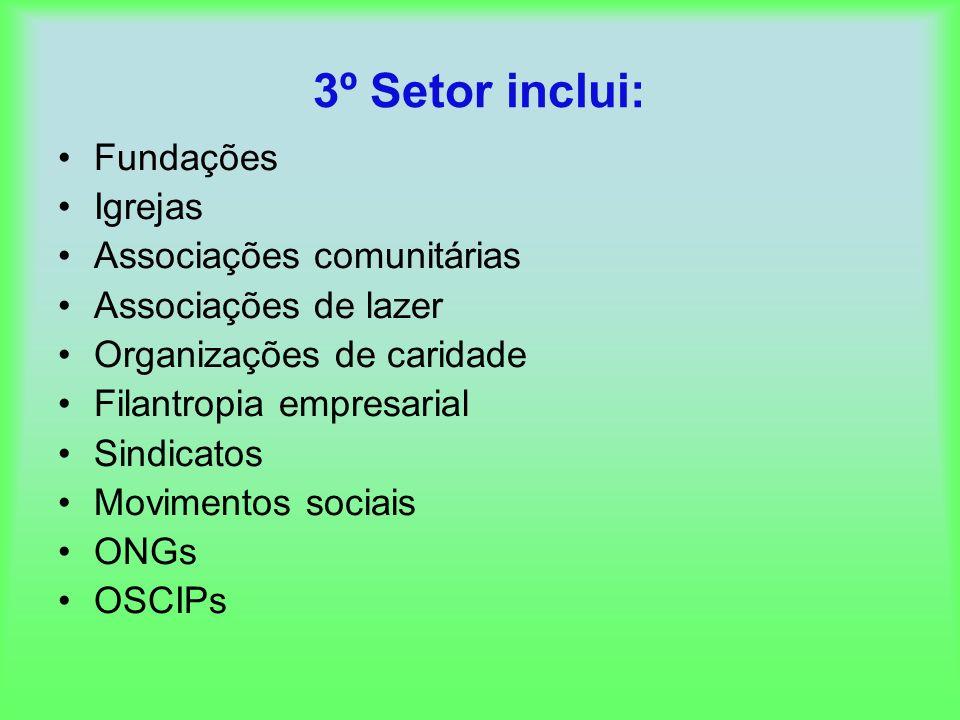 3º Setor inclui: Fundações Igrejas Associações comunitárias Associações de lazer Organizações de caridade Filantropia empresarial Sindicatos Movimento