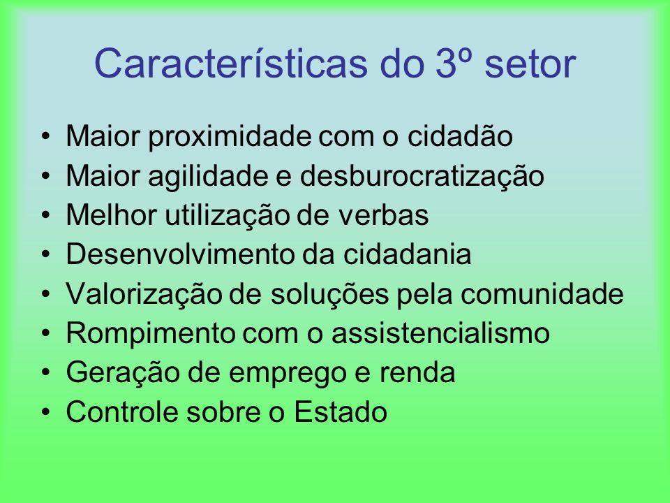Características do 3º setor Maior proximidade com o cidadão Maior agilidade e desburocratização Melhor utilização de verbas Desenvolvimento da cidadan