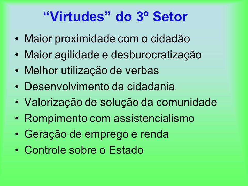 Virtudes do 3º Setor Maior proximidade com o cidadão Maior agilidade e desburocratização Melhor utilização de verbas Desenvolvimento da cidadania Valo