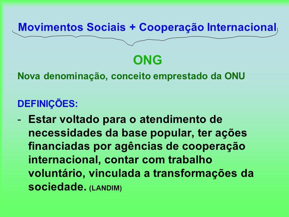 Movimentos Sociais + Cooperação Internacional ONG Nova denominação, conceito emprestado da ONU DEFINIÇÕES: -Estar voltado para o atendimento de necess