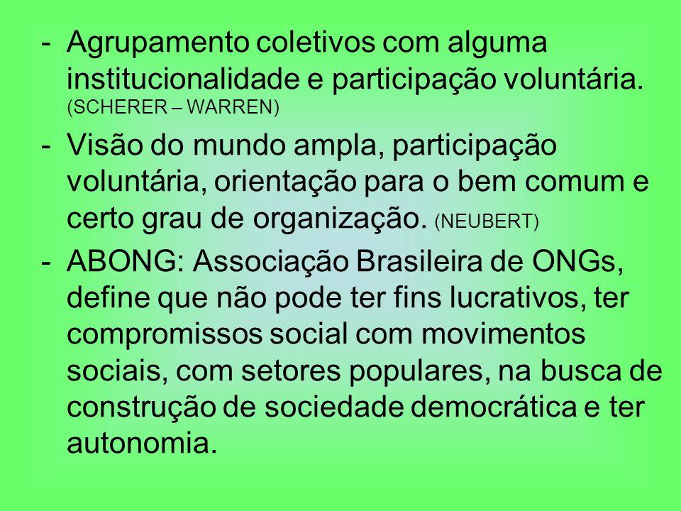 -Agrupamento coletivos com alguma institucionalidade e participação voluntária. (SCHERER – WARREN) -Visão do mundo ampla, participação voluntária, ori