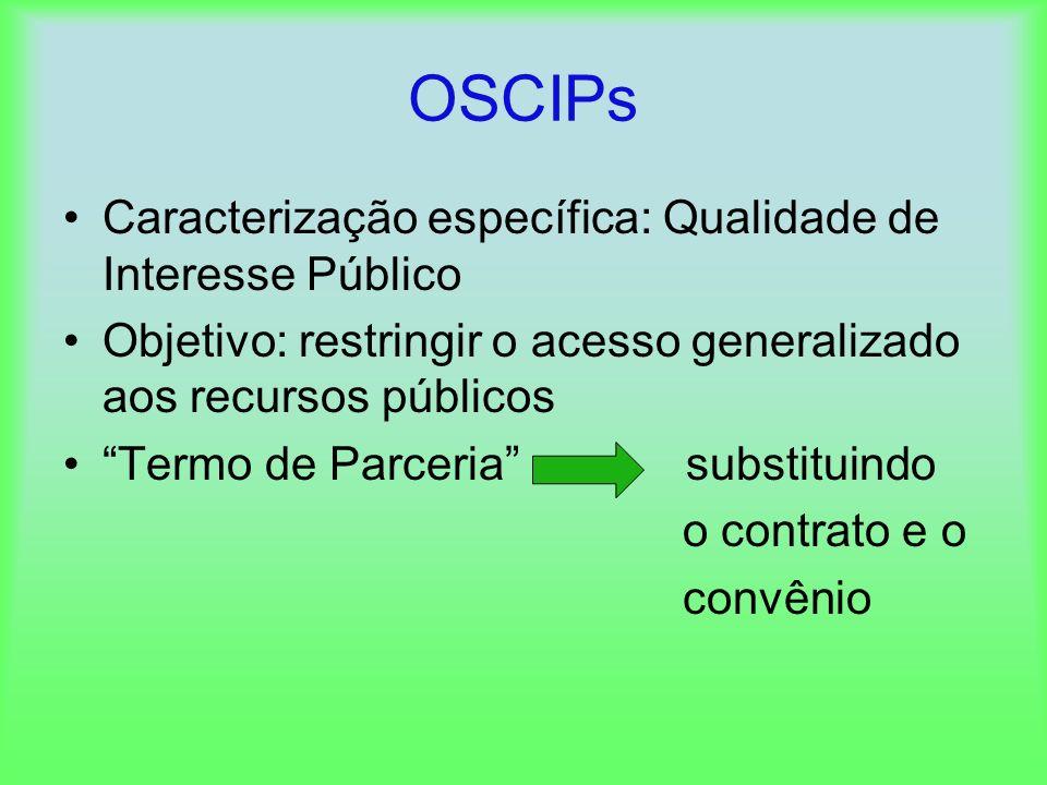 OSCIPs Caracterização específica: Qualidade de Interesse Público Objetivo: restringir o acesso generalizado aos recursos públicos Termo de Parceria su