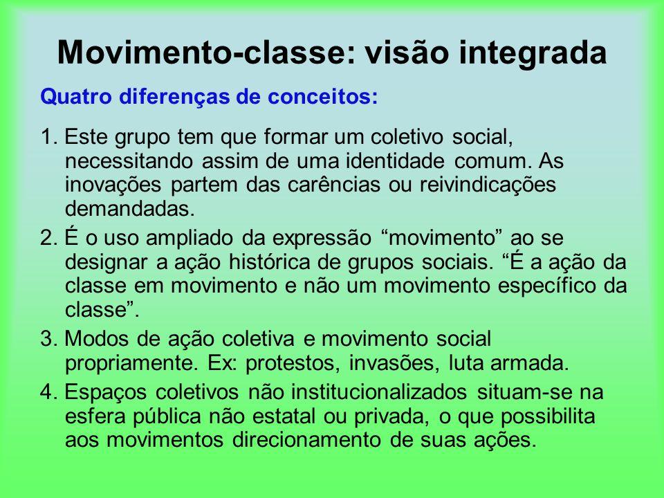 Movimento-classe: visão integrada Quatro diferenças de conceitos: 1. Este grupo tem que formar um coletivo social, necessitando assim de uma identidad