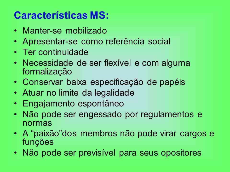 Características MS: Manter-se mobilizado Apresentar-se como referência social Ter continuidade Necessidade de ser flexível e com alguma formalização C