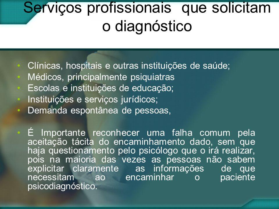 Serviços profissionais que solicitam o diagnóstico Clínicas, hospitais e outras instituições de saúde; Médicos, principalmente psiquiatras Escolas e i