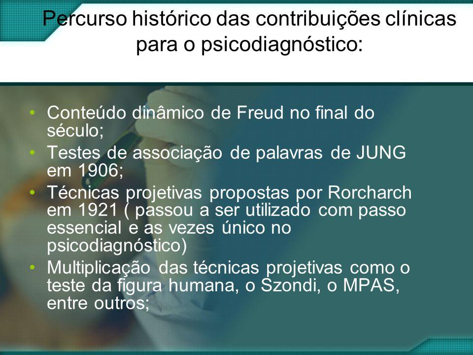 Percurso histórico das contribuições clínicas para o psicodiagnóstico: Conteúdo dinâmico de Freud no final do século; Testes de associação de palavras