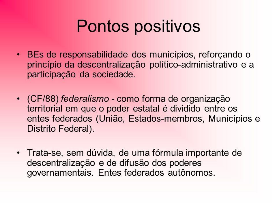 Pontos positivos BEs de responsabilidade dos municípios, reforçando o princípio da descentralização político-administrativo e a participação da sociedade.