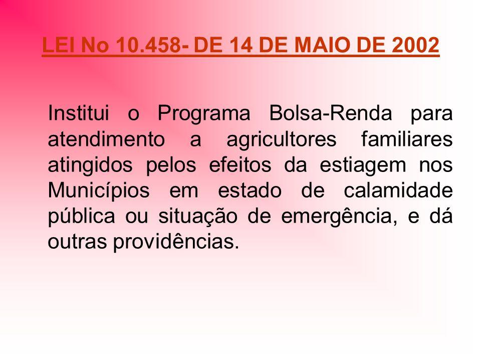LEI No 10.458- DE 14 DE MAIO DE 2002 Institui o Programa Bolsa-Renda para atendimento a agricultores familiares atingidos pelos efeitos da estiagem nos Municípios em estado de calamidade pública ou situação de emergência, e dá outras providências.