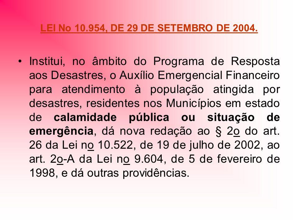 LEI No 10.954, DE 29 DE SETEMBRO DE 2004. Institui, no âmbito do Programa de Resposta aos Desastres, o Auxílio Emergencial Financeiro para atendimento