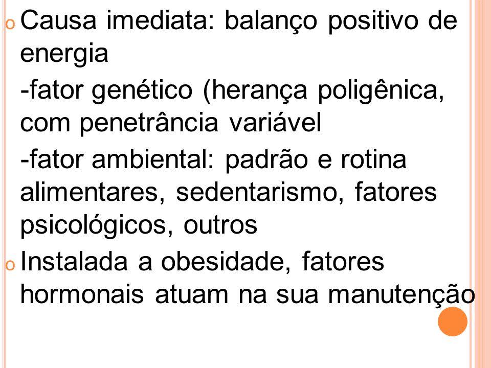 o Causa imediata: balanço positivo de energia -fator genético (herança poligênica, com penetrância variável -fator ambiental: padrão e rotina alimenta