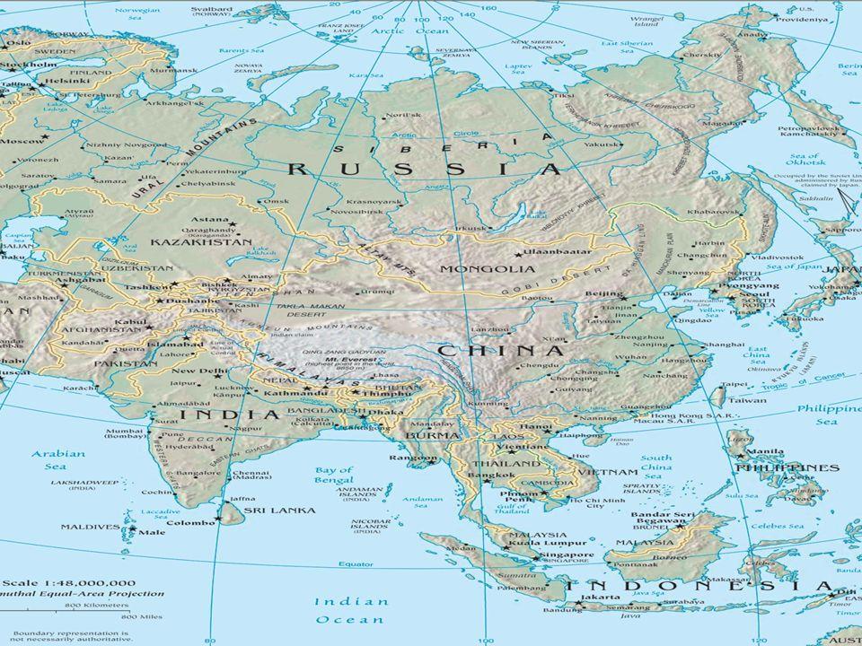 Dados Ásia Maior continente do mundo – 45 milhões km2 Penínsulas – Anatólica,Arábica,indiana e indochinesa Depressões- Mar Cáspio, Mar Negro, Mar Morto Relevo- maiores altitudes, teto do mundo – Cordilheira do Himalaia e kunlun Hidrografia – Rios Amur,Huang Ho,Chang Jiang,,rio Mekong,rio Brahmaputra,Ganges( maior delta do mundo),Rio Indo
