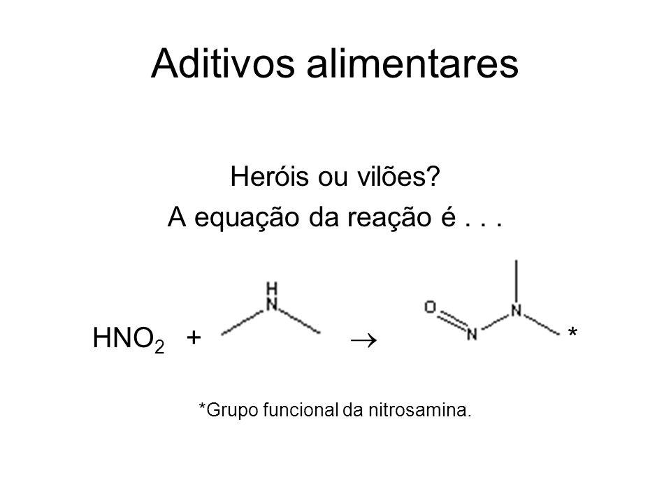 Aditivos alimentares Heróis ou vilões? A equação da reação é... HNO 2 + * *Grupo funcional da nitrosamina.