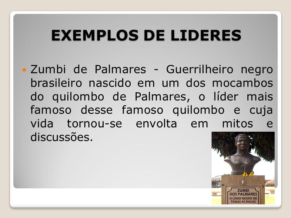 EXEMPLOS DE LIDERES Zumbi de Palmares - Guerrilheiro negro brasileiro nascido em um dos mocambos do quilombo de Palmares, o líder mais famoso desse fa