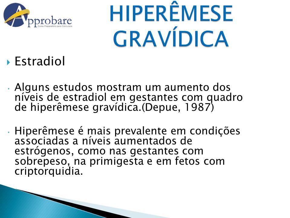 Estradiol Alguns estudos mostram um aumento dos níveis de estradiol em gestantes com quadro de hiperêmese gravídica.(Depue, 1987) Hiperêmese é mais pr