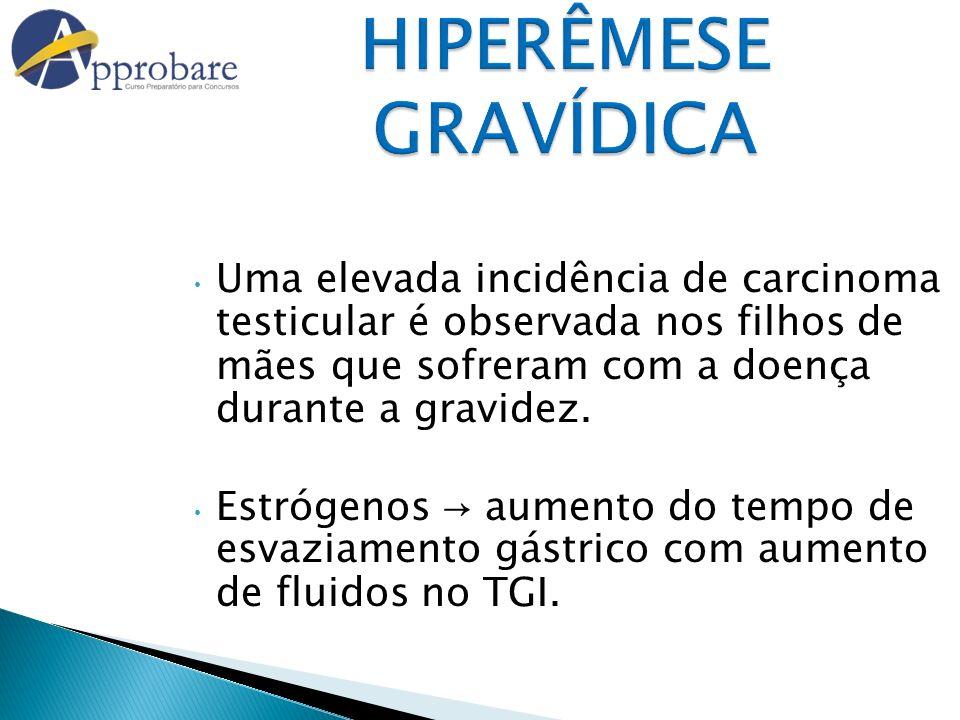 HIPERÊMESE GRAVÍDICA Uma elevada incidência de carcinoma testicular é observada nos filhos de mães que sofreram com a doença durante a gravidez. Estró