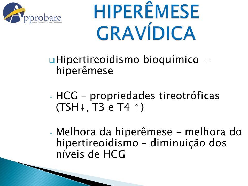 HIPERÊMESE GRAVÍDICA Hipertireoidismo bioquímico + hiperêmese HCG – propriedades tireotróficas (TSH, T3 e T4 ) Melhora da hiperêmese – melhora do hipe