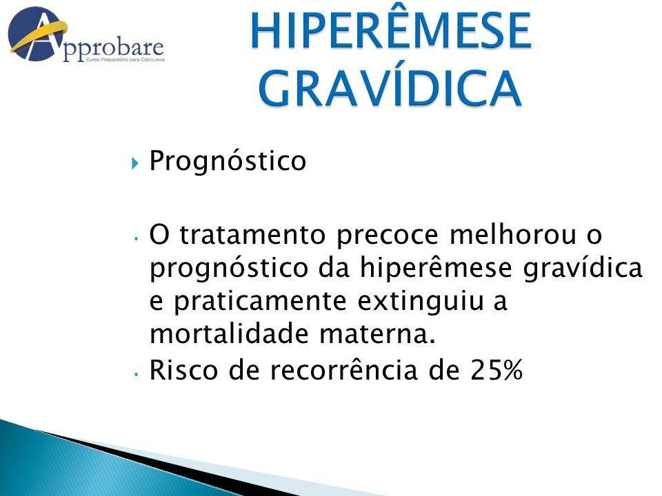 HIPERÊMESE GRAVÍDICA Prognóstico O tratamento precoce melhorou o prognóstico da hiperêmese gravídica e praticamente extinguiu a mortalidade materna. R