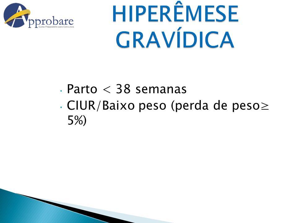 HIPERÊMESE GRAVÍDICA Parto < 38 semanas CIUR/Baixo peso (perda de peso 5%)