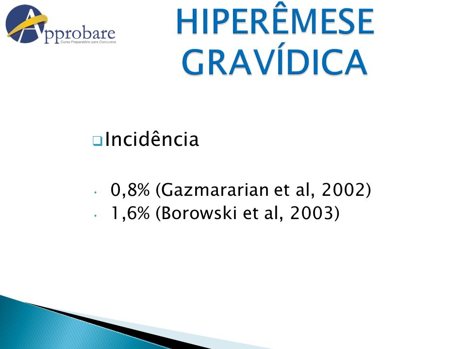 HIPERÊMESE GRAVÍDICA Medicamentos Antieméticos Derivados das piperazinas: Buclizina (C) Ciclizina (B) Meclizina (B) Derivados das fenotiazinas: Clorpromazina (C) Prometazina (C) Anti-histamínico: Difenidramina (B) Antagonista da dopamina: Metoclopramida (B) Antagonista da apomorfina: Droperidol (C) Corticóides – Metilpredinisolona Antagonistas H3 - Ondasentron (C)