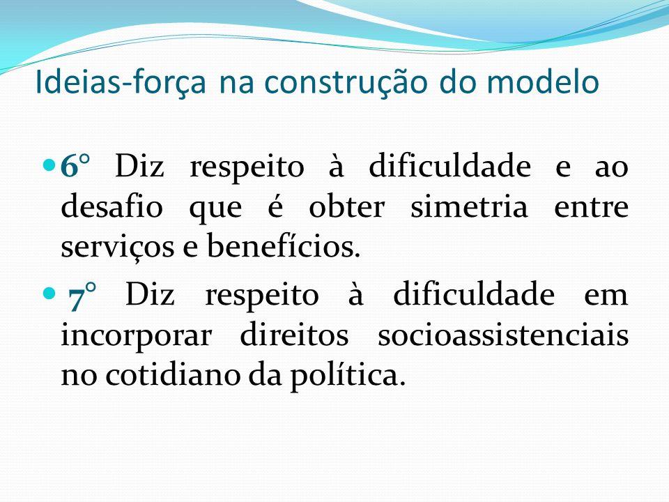 Ideias-força na construção do modelo 6° Diz respeito à dificuldade e ao desafio que é obter simetria entre serviços e benefícios.