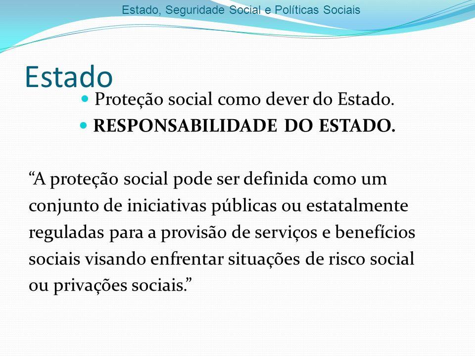 Proteção social como dever do Estado.RESPONSABILIDADE DO ESTADO.