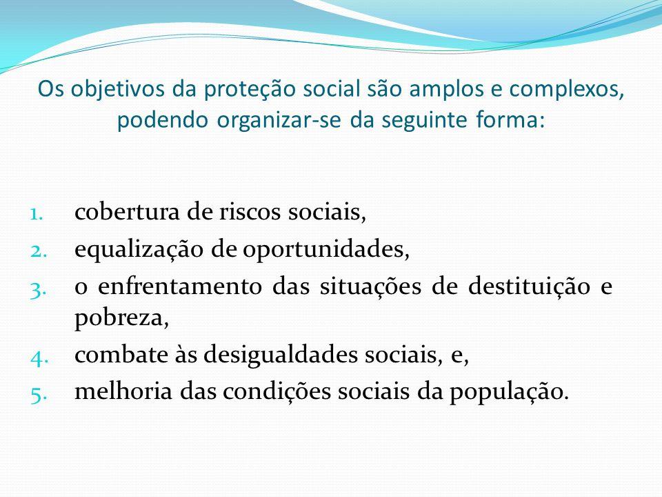 Os objetivos da proteção social são amplos e complexos, podendo organizar-se da seguinte forma: 1.
